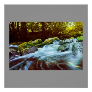 Water Waterfall Rock Green Nature Name Personalize Perfect Poster