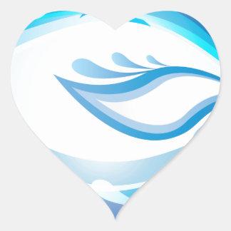 Water Wave Heart Sticker