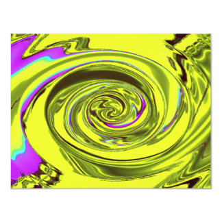 "water wave xavier yellow 4.25"" x 5.5"" invitation card"