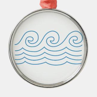 Water Waves Border Metal Ornament
