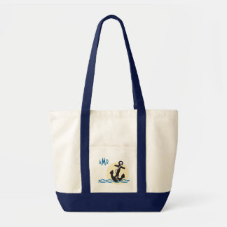 Water Waves with Anchor, Monogrammed Nautical Tote Bag