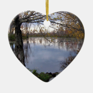 Water Wetland Woods Double-Sided Heart Ceramic Christmas Ornament
