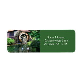 Water Wheel Pond Painting Address Label