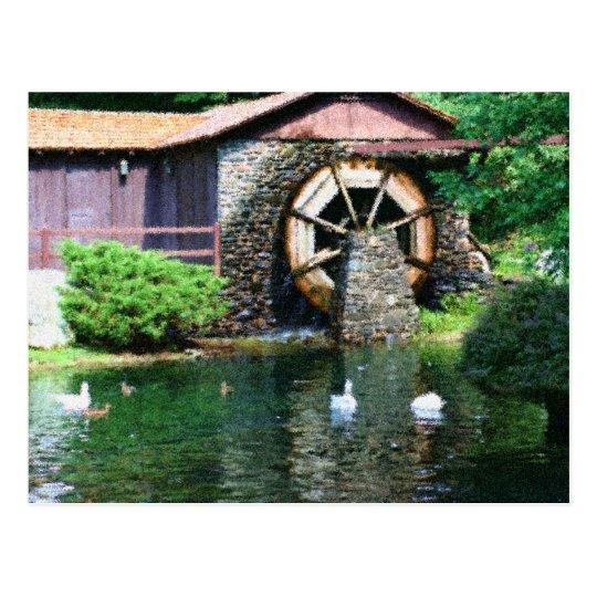 Water Wheel Pond Seurat Painting Postcard