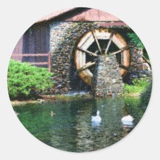 Water Wheel Pond Seurat Painting Sticker