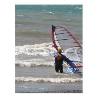 water-wind surfing postcard