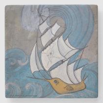 Water Wings Pirate Ship Bird Nautical Art Marble Stone Coaster