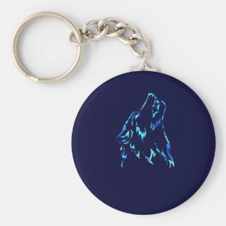 water wolf basic round button keychain