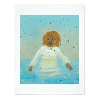 Water woman modern folk art spiritual painting 4.25x5.5 paper invitation card