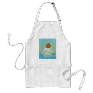 Water woman spiritual moment wading in rain art adult apron