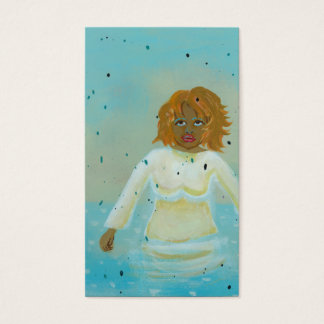 Water woman spiritual moment wading in rain art business card