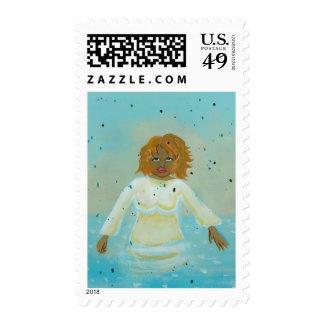 Water woman spiritual moment wading in rain art stamp