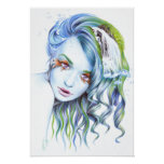 """Water"" woman surreal portrait poster print"