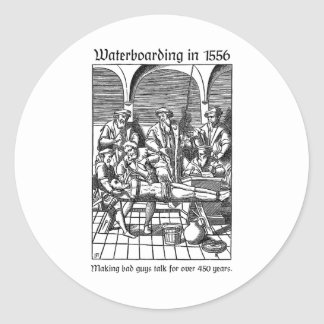 Waterboarding in 1556 classic round sticker