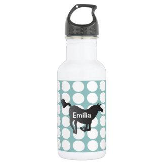 Waterbottle con los puntos, el caballo y el nombre