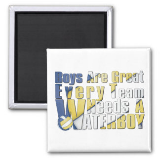 Waterboy Volleyball in Blue and Yellow 2 Inch Square Magnet