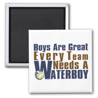 Waterboy Vollyball in Blue 2 Inch Square Magnet