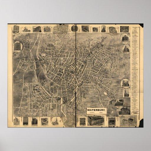 Waterbury Connecticut 1899 Antique Panoramic Map Poster