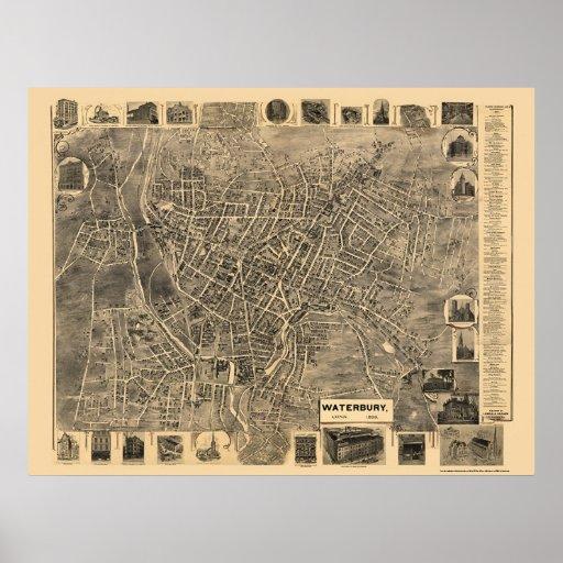 Waterbury, CT Panoramic Map - 1899  Print