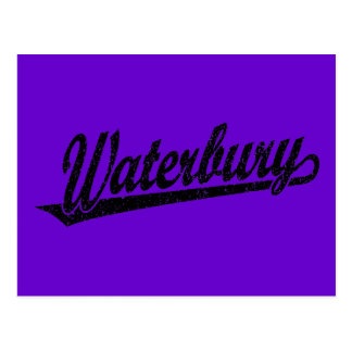 Waterbury script logo in black distressed post cards