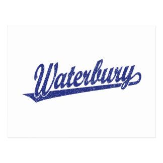 Waterbury script logo in blue distressed postcards