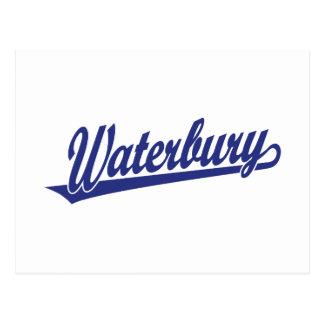 Waterbury script logo in blue postcards