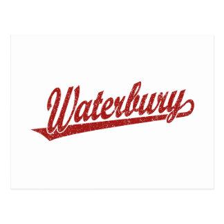 Waterbury script logo in red distressed postcards
