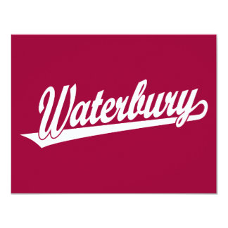 Waterbury script logo in white card