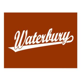 Waterbury script logo in white post cards