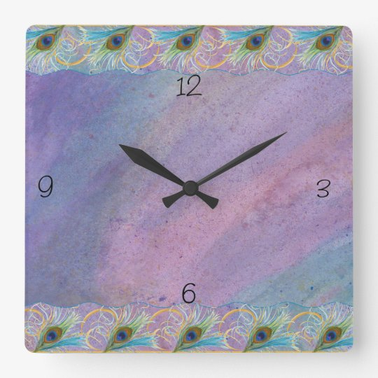 Watercoclor Peacock Glory Square Wall Clock