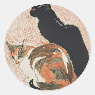 Watercolor - 2 Cats - Théophile Alexandre Steinlen Classic Round Sticker