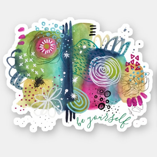 Watercolor Abstract Art Colorful Be Yourself Quote Sticker