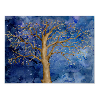Watercolor Abstract Bare Oak Tree Night Poster