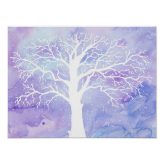 Watercolor Abstract Bare Oak Tree Poster
