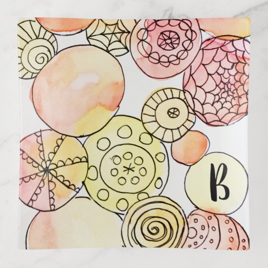 Watercolor Abstract Circles Doodles Dots Stripes Trinket Trays