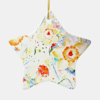 Watercolor Abstract Daffodils Pattern Ceramic Ornament