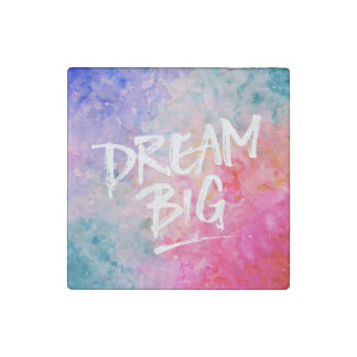 Watercolor Abstract Dream Big Stone Magnet