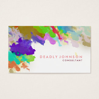 Watercolor Abstract Elegant Cool Multi-color Pink Business Card