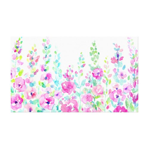 Watercolor Abstract Floral Border Canvas Print