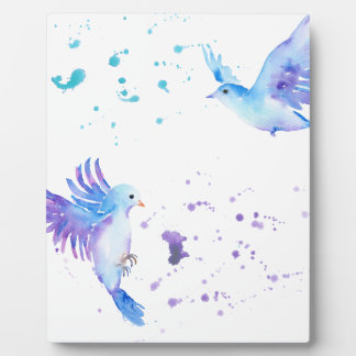 Watercolor Abstract Flying Blue Birds Plaque