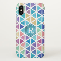 Watercolor Abstract Geometric (Coral Reef Tones) iPhone X Case