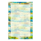 Watercolor abstract green, blue stationery