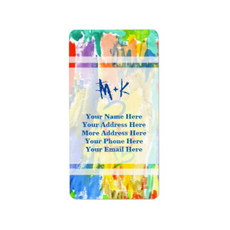 Watercolor Abstract Hearts Colorful Random Paint Label