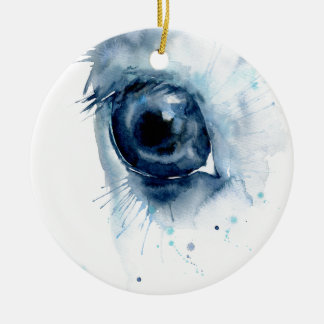 Watercolor Abstract Horse Eye Ceramic Ornament