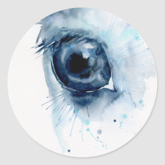 Watercolor Abstract Horse Eye Classic Round Sticker