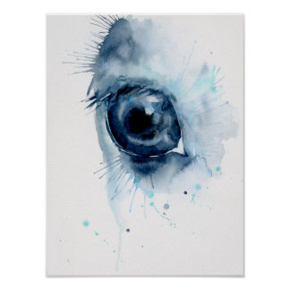 Watercolor Abstract Horse Eye Poster