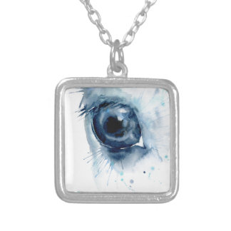 Watercolor Abstract Horse Eye Silver Plated Necklace