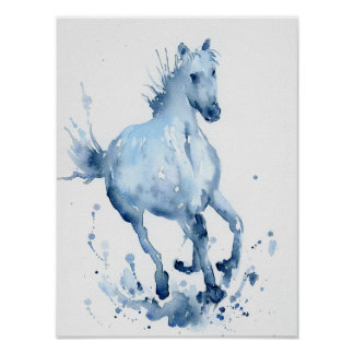 Watercolor Abstract Horse Galloping Painting Poster