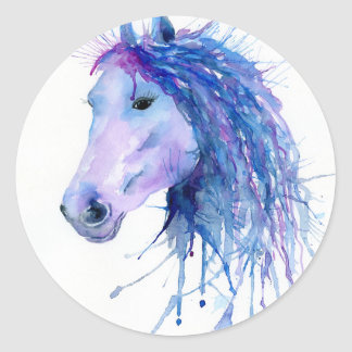 Watercolor Abstract Horse Portrait Classic Round Sticker