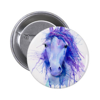 Watercolor abstract horse portrait pinback button